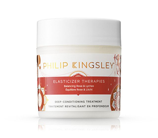 A tub of Philip Kingsley's elasticizer therapies in balancing rose and lychees, the best leave in conditioner for curly hair.