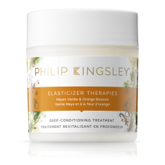 A tub of the Philip Kingsley Elasticizer hair mask in the scent mayan vanilla & orange blossom.